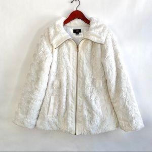 IZ Byer White Furry Zip Up Coat